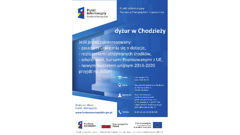 Punkt Informacyjny Funduszy Europejskich zaprasza na dyżur w Chodzieży