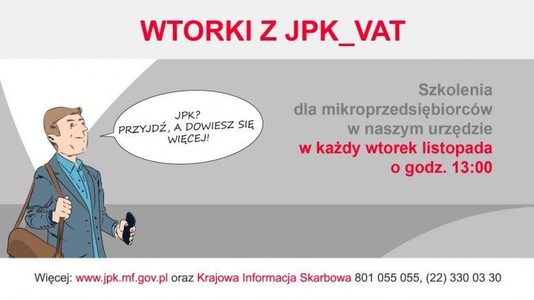 Grafika zapraszająca na spotkanie w Urzędzie Skarbowym w sprawie JPK_VAT